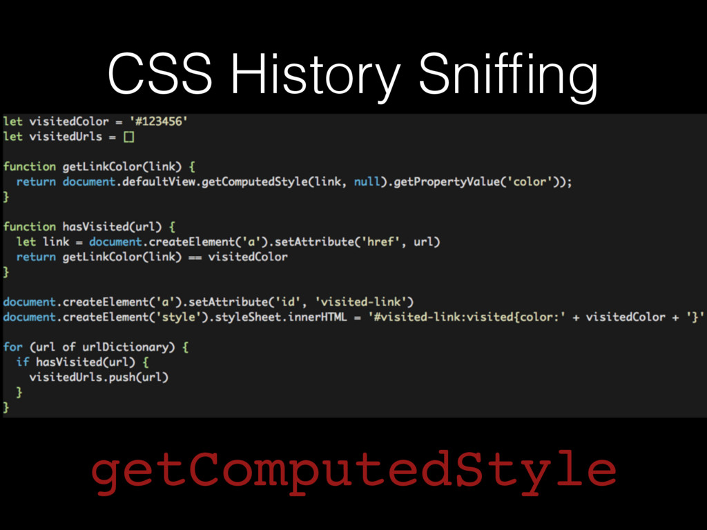 CSS History Sniffing getComputedStyle