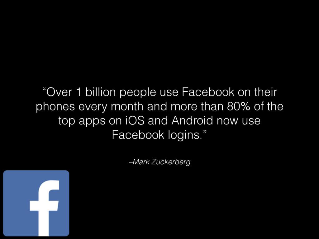"""–Mark Zuckerberg """"Over 1 billion people use Fac..."""
