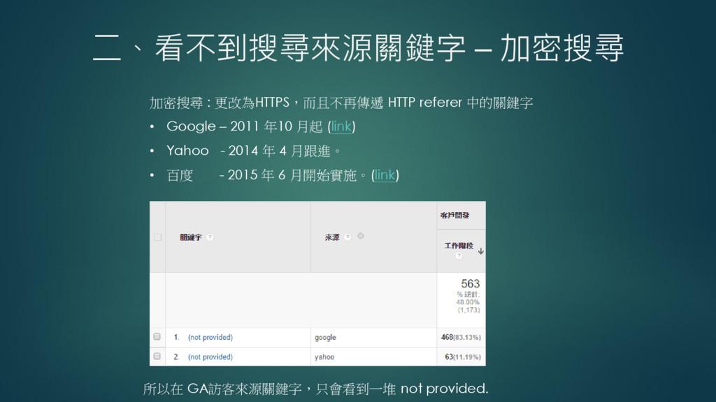 二、看不到搜尋來源關鍵字 – 加密搜尋 加密搜尋 : 更改為HTTPS,而且不再傳遞 HTTP...
