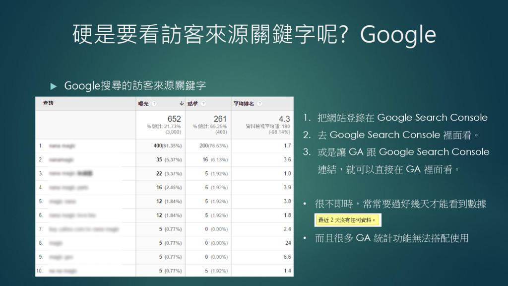 硬是要看訪客來源關鍵字呢? Google  Google搜尋的訪客來源關鍵字 1. 把網站登...