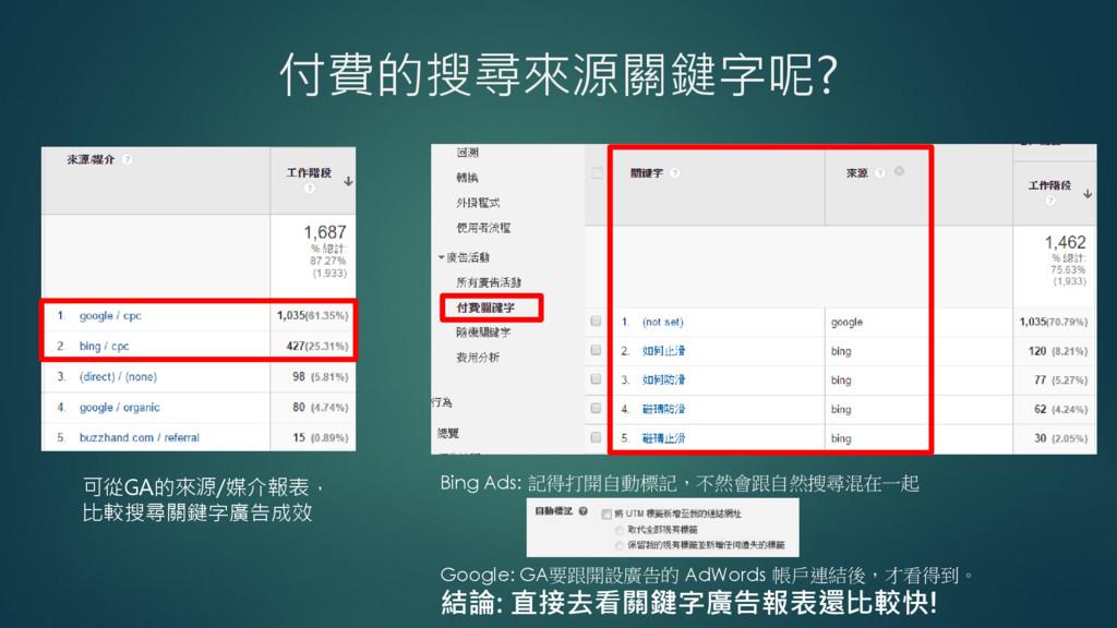 付費的搜尋來源關鍵字呢? Bing Ads: 記得打開自動標記,不然會跟自然搜尋混在一起 Go...