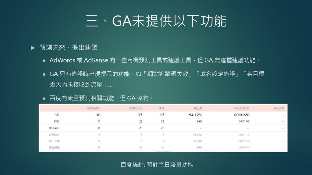 三、GA未提供以下功能  預測未來、提出建議  AdWords 或 AdSense 有一些...