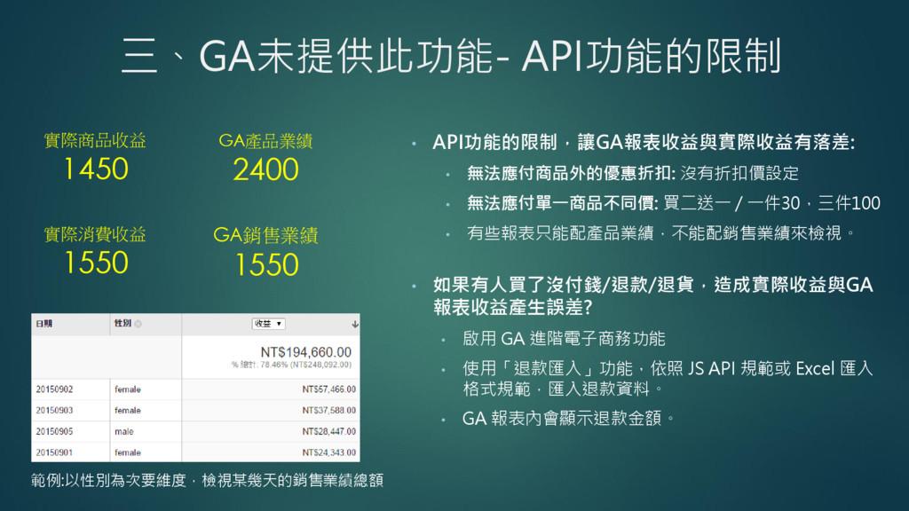 三、GA未提供此功能- API功能的限制 • API功能的限制,讓GA報表收益與實際收益有落差...