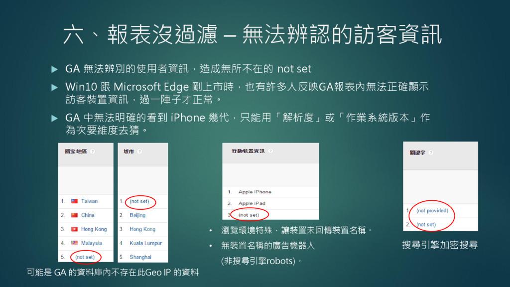 六、報表沒過濾 – 無法辨認的訪客資訊  GA 無法辨別的使用者資訊,造成無所不在的 not...