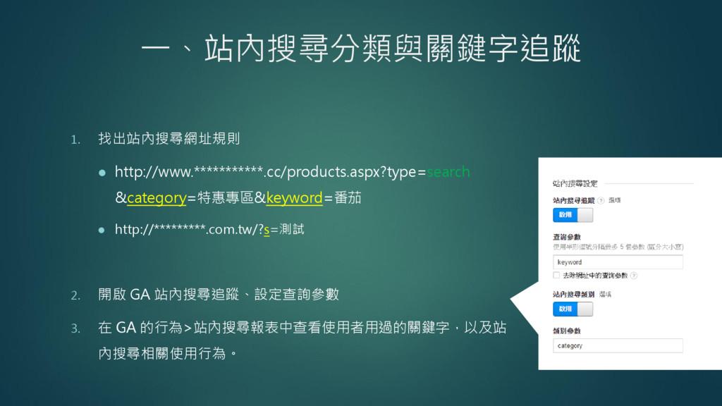 一、站內搜尋分類與關鍵字追蹤 1. 找出站內搜尋網址規則  http://www.*****...