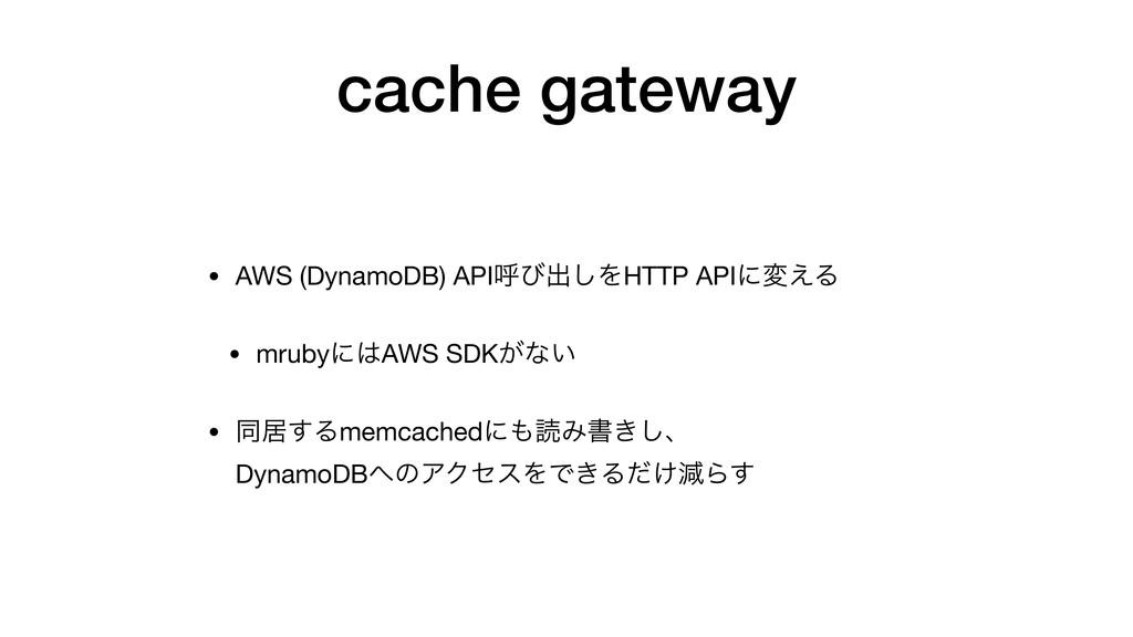 cache gateway • AWS (DynamoDB) APIݺͼग़͠ΛHTTP API...