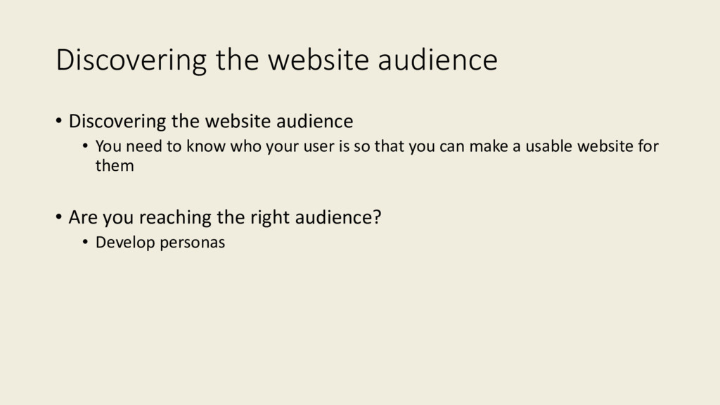 Discovering the website audience • Discovering ...