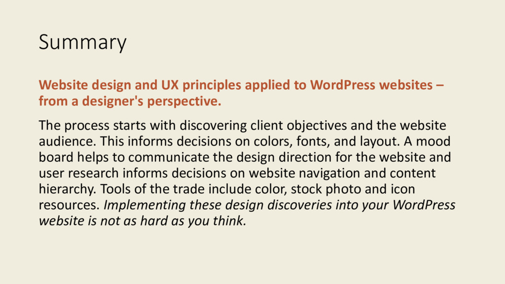Summary Website design and UX principles applie...