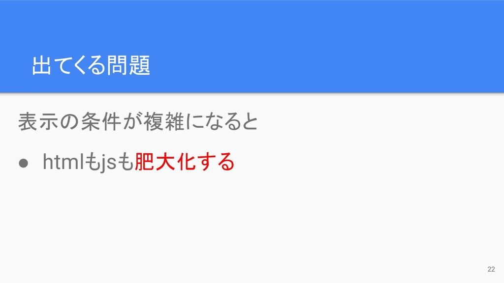 表示の条件が複雑になると ● htmlもjsも肥大化する 出てくる問題 22