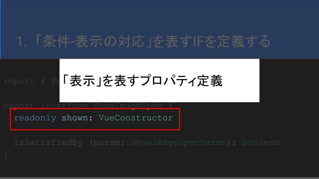34 1. 「条件-表示の対応」を表すIFを定義する import { VueConstruc...