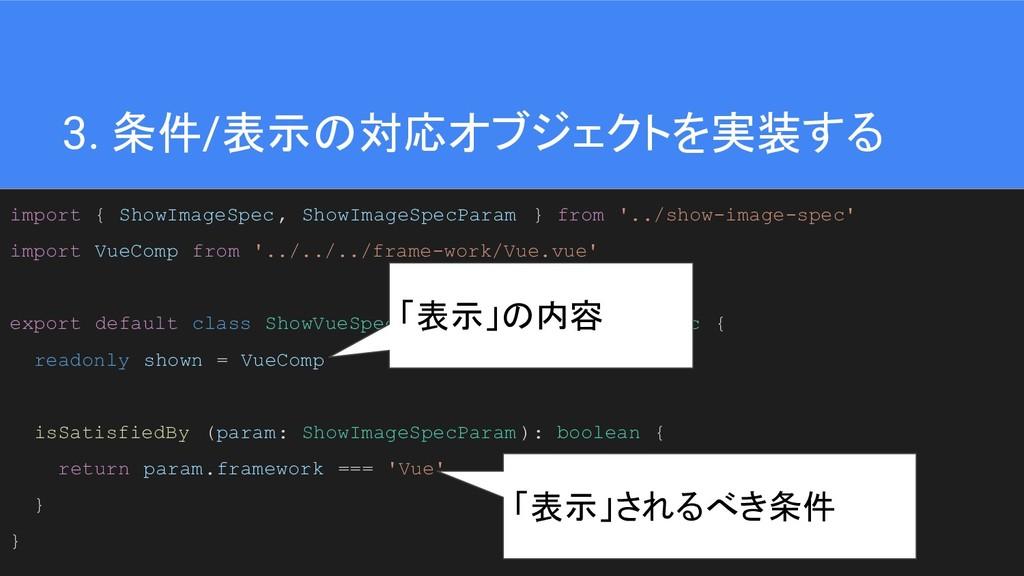 39 3. 条件/表示の対応オブジェクトを実装する import { ShowImageSpe...