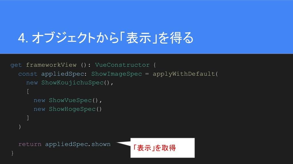 40 4. オブジェクトから「表示」を得る get frameworkView (): Vue...