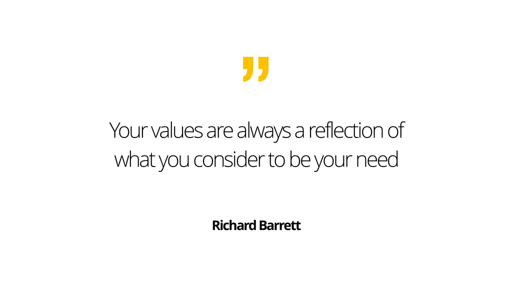 Your values are always a reflection of what you...