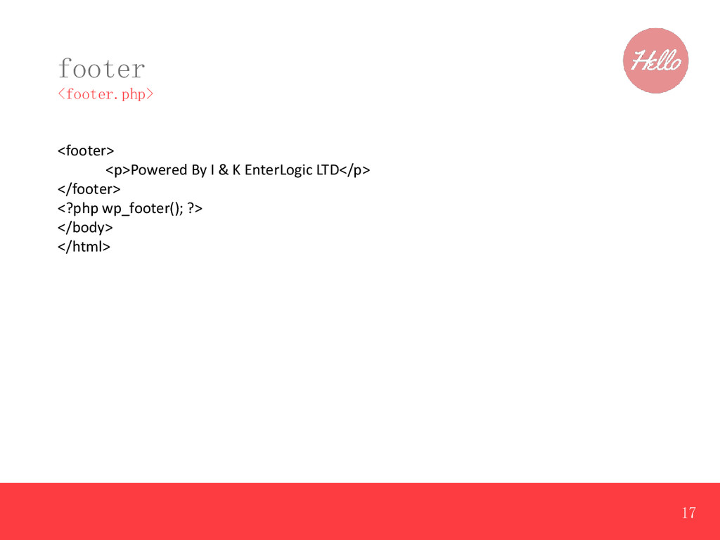 footer <footer.php> <footer> <p>Powered By I & ...