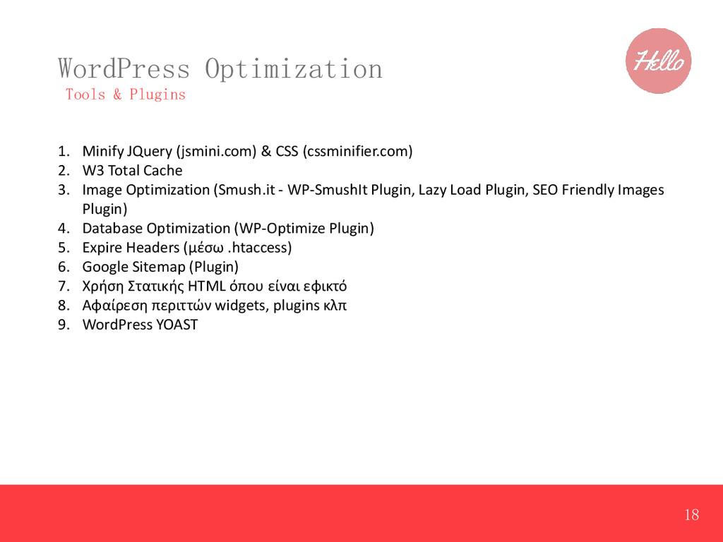 WordPress Optimization Tools & Plugins 1. Minif...