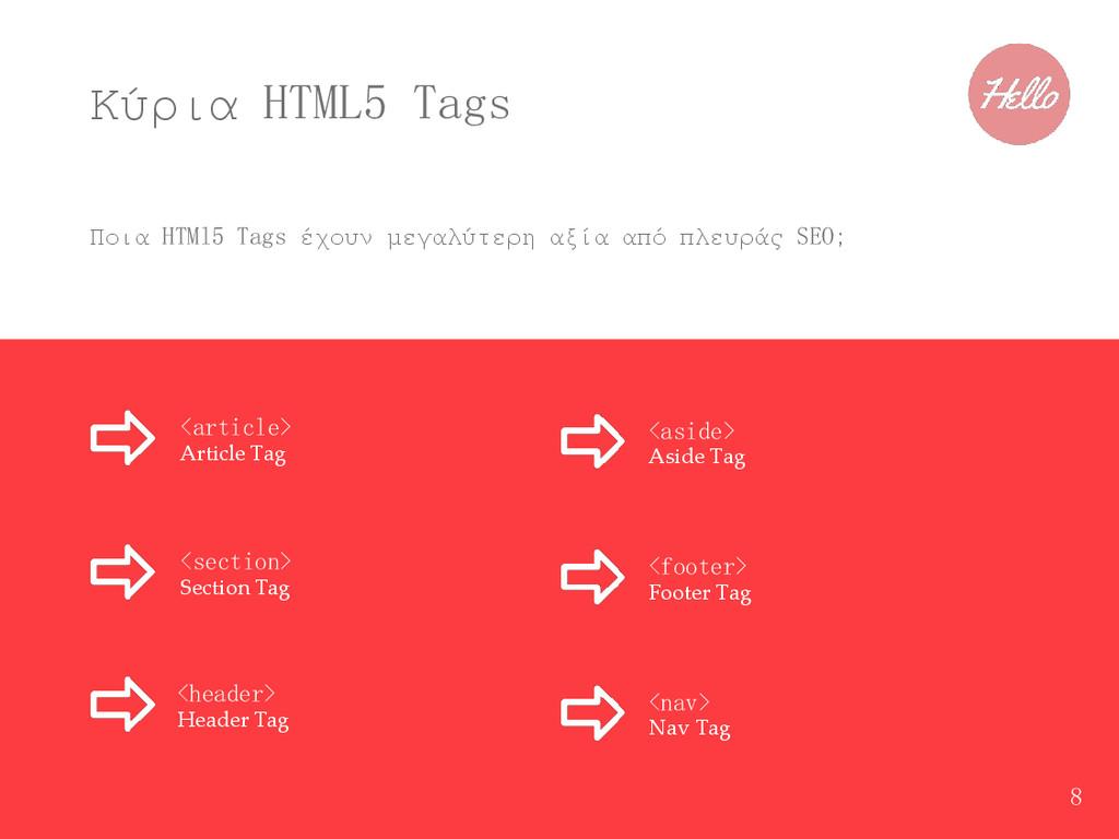 Κύρια HTML5 Tags Ποια HTMl5 Tags έχουν μεγαλύτε...