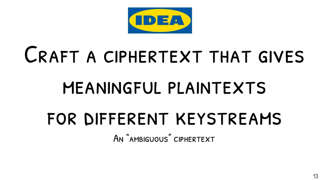 Craft a ciphertext that gives meaningful plaint...