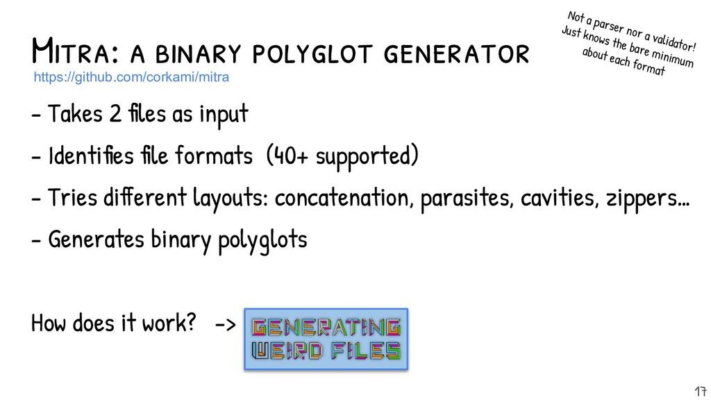 Mitra: a binary polyglot generator - Takes 2 fil...