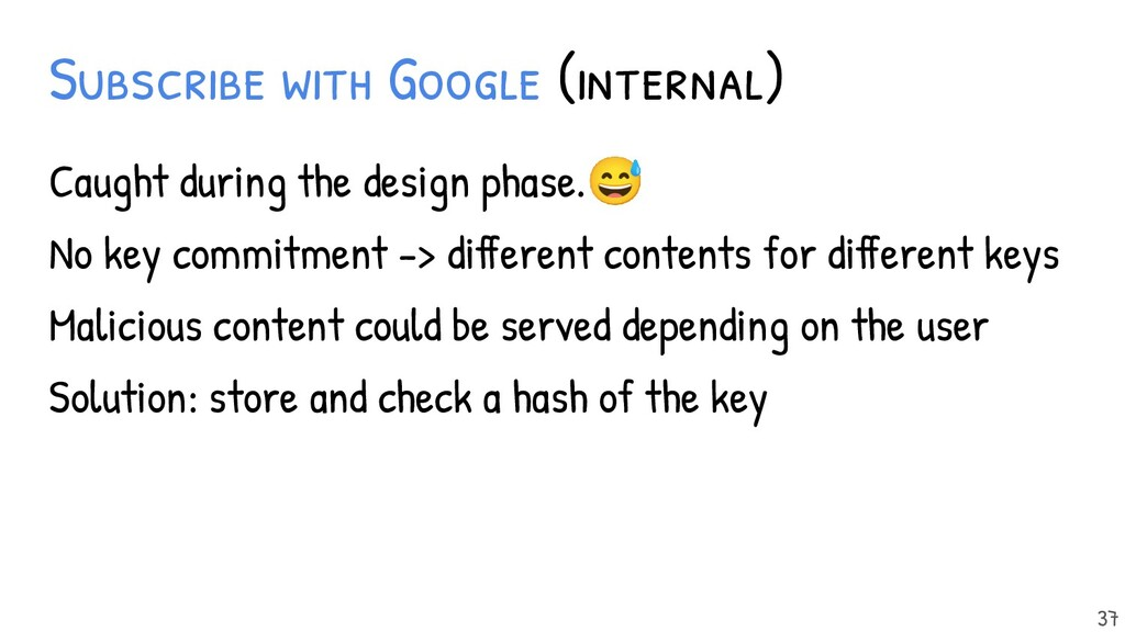 Subscribe with Google (internal) Caught during ...