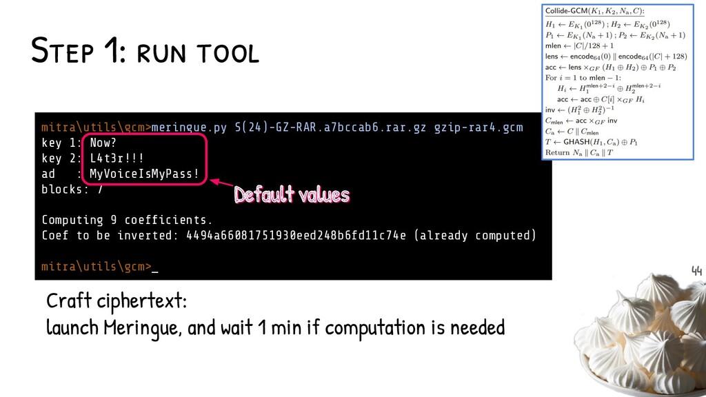 Step 1: run tool mitra\utils\gcm>meringue.py S(...