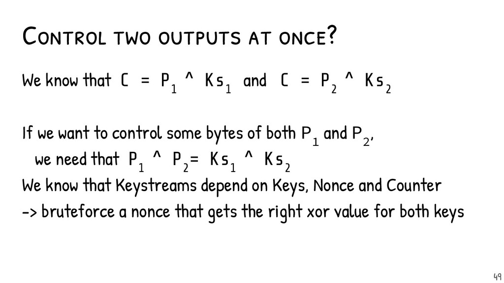 Control two outputs at once? We know that C = P...