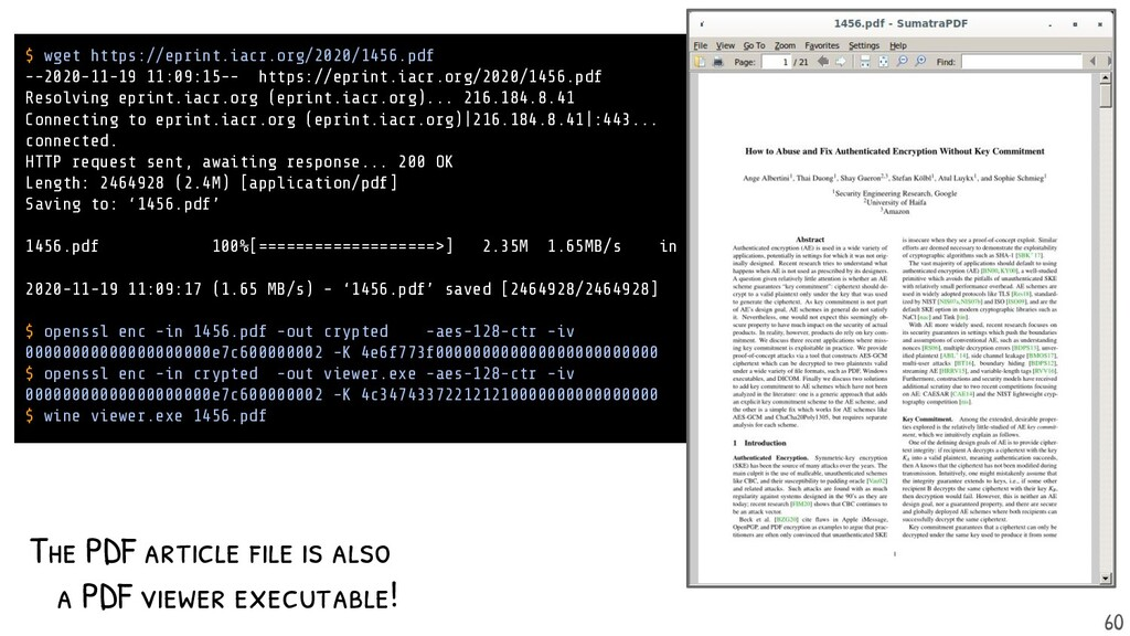 The PDF article is also a PDF viewer executable...