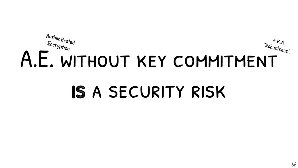 A.E. without key commitment is a security risk....