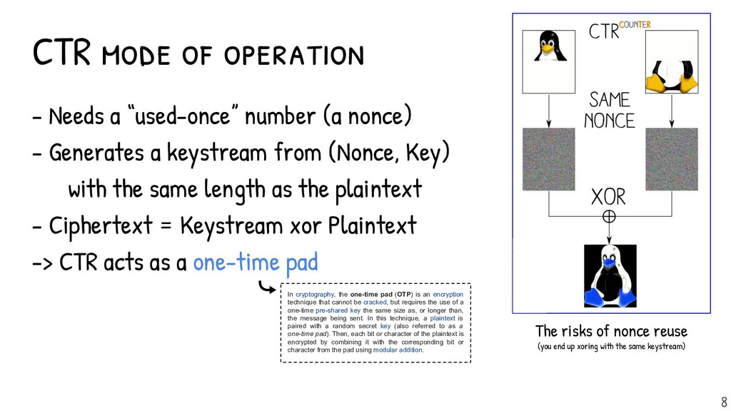 """CTR mode of operation - Needs a """"used-once"""" num..."""