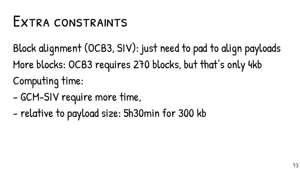 Extra constraints Block alignment (OCB3, SIV): ...