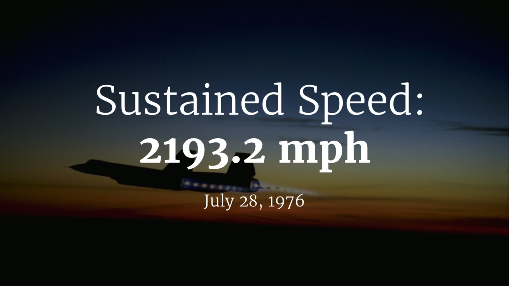 Sustained Speed: 2193.2 mph July 28, 1976