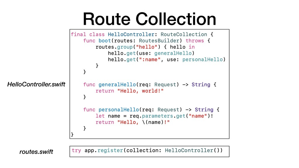 Route Collection routes.swift HelloController.s...