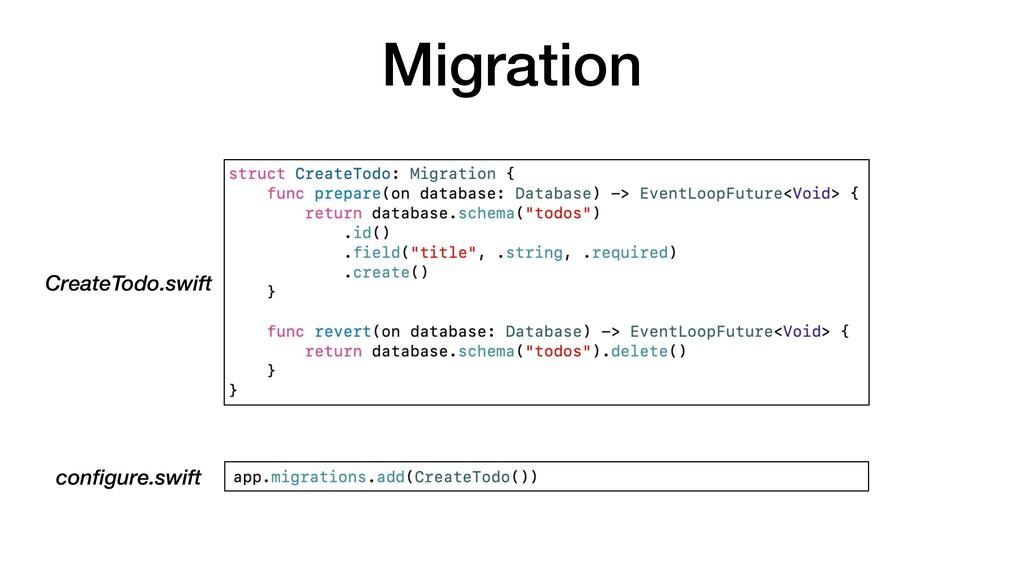 Migration configure.swift CreateTodo.swift