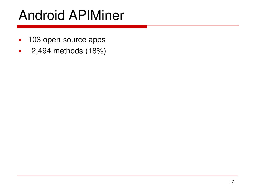 Android APIMiner  103 open-source apps  2,494...