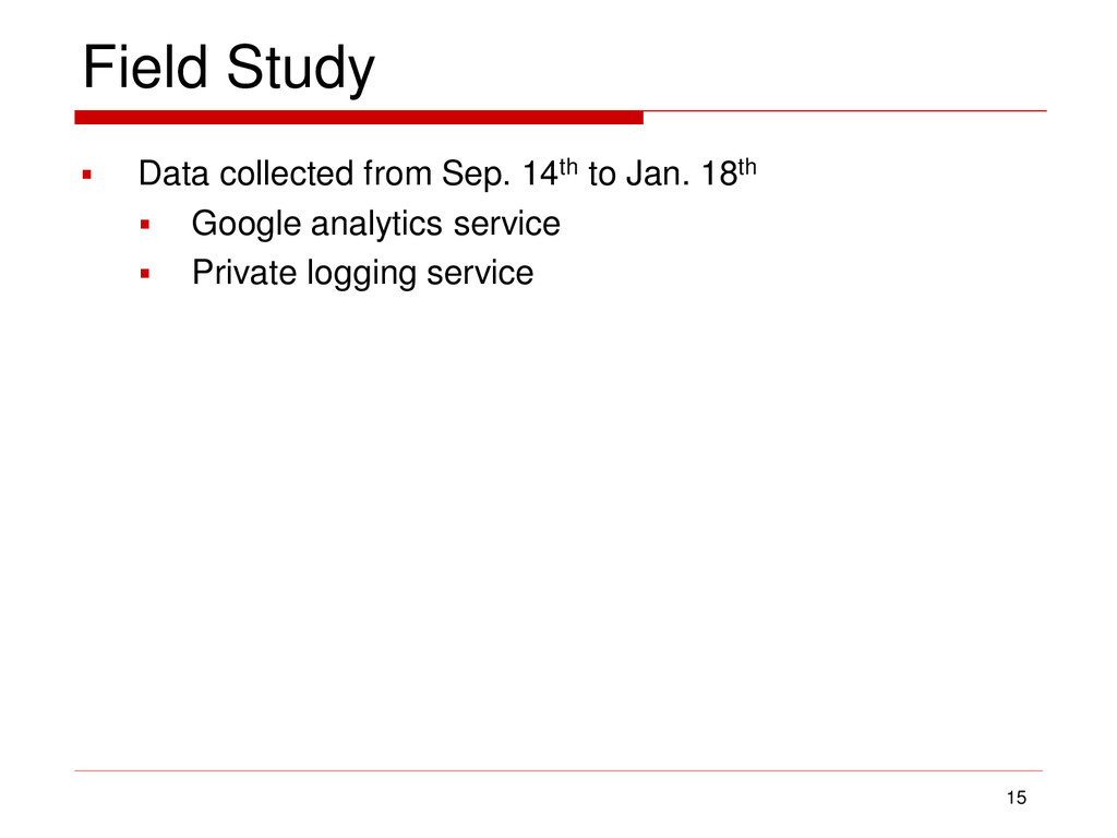 Field Study  Data collected from Sep. 14th to ...