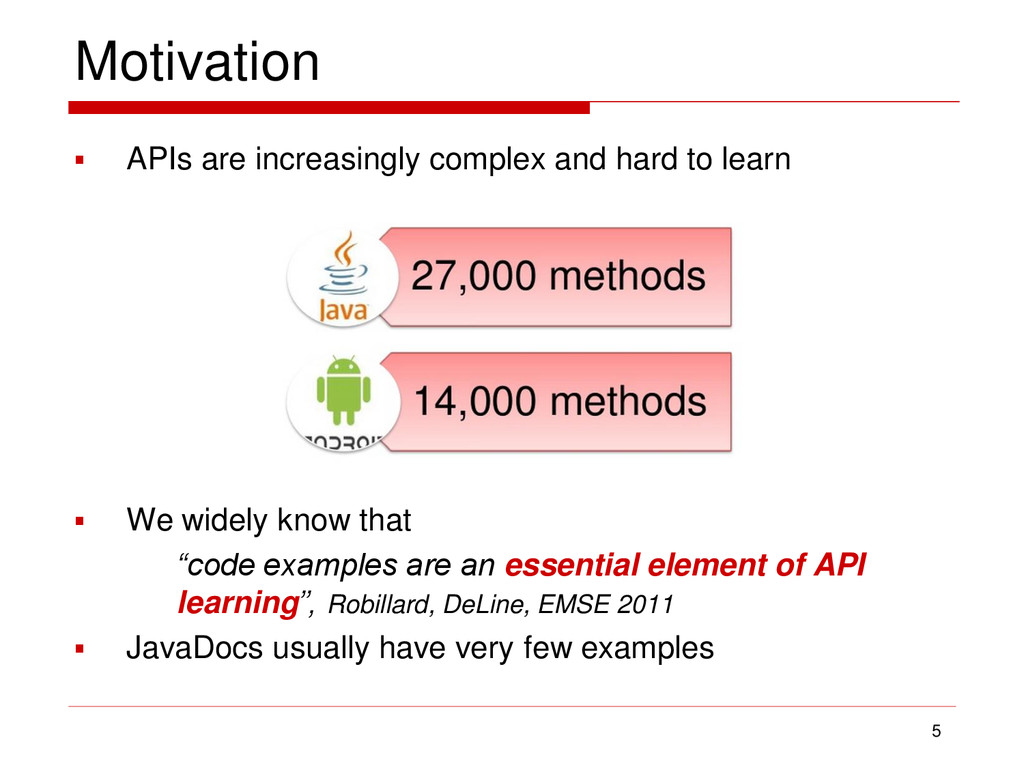 Motivation  APIs are increasingly complex and ...