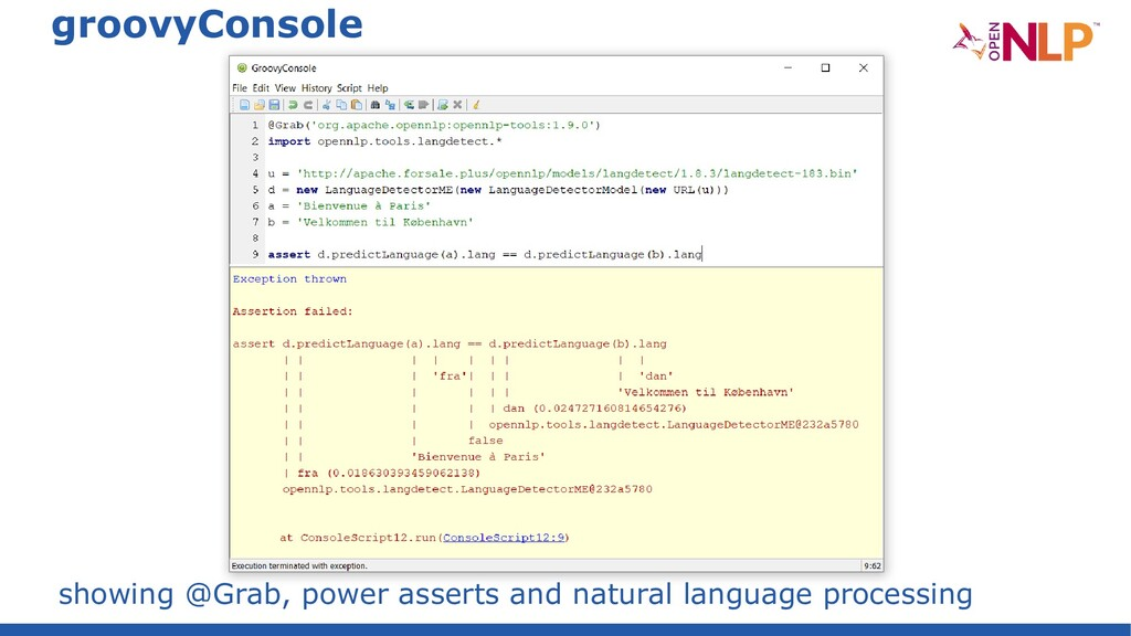 groovyConsole showing @Grab, power asserts and ...