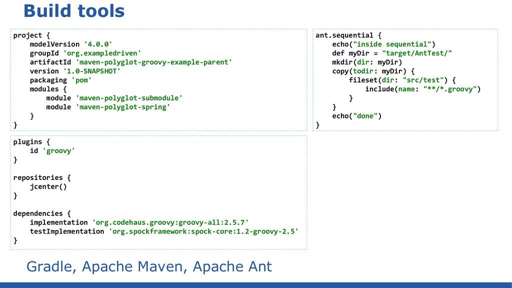 Build tools Gradle, Apache Maven, Apache Ant pl...