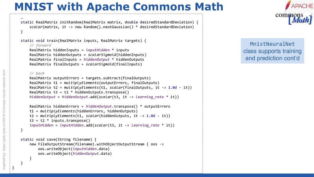 MNIST with Apache Commons Math … static RealMat...