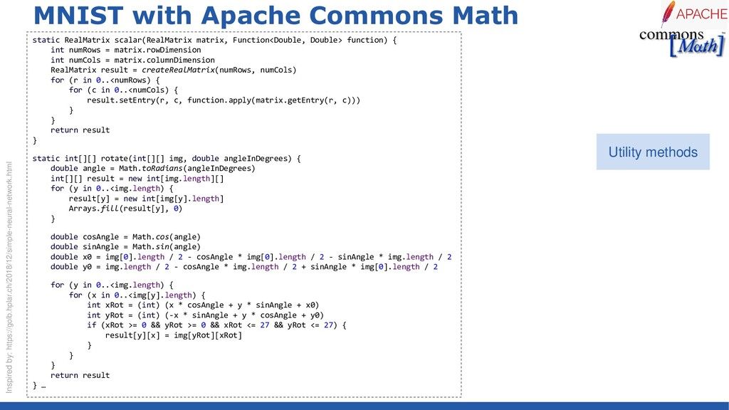 MNIST with Apache Commons Math static RealMatri...