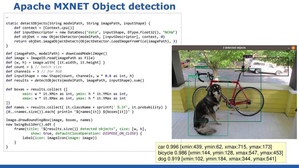 Apache MXNET Object detection … static detectOb...