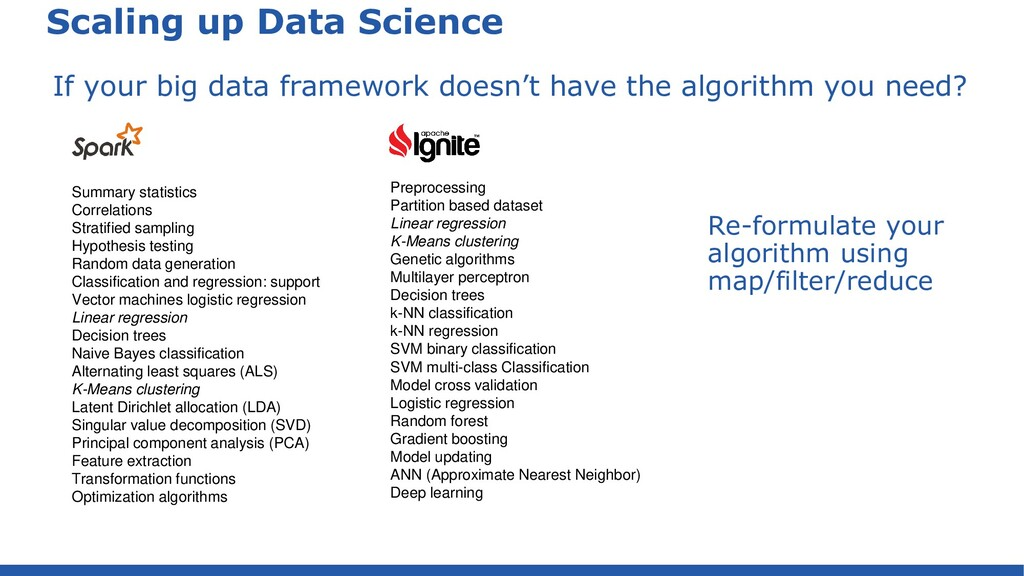 Scaling up Data Science If your big data framew...