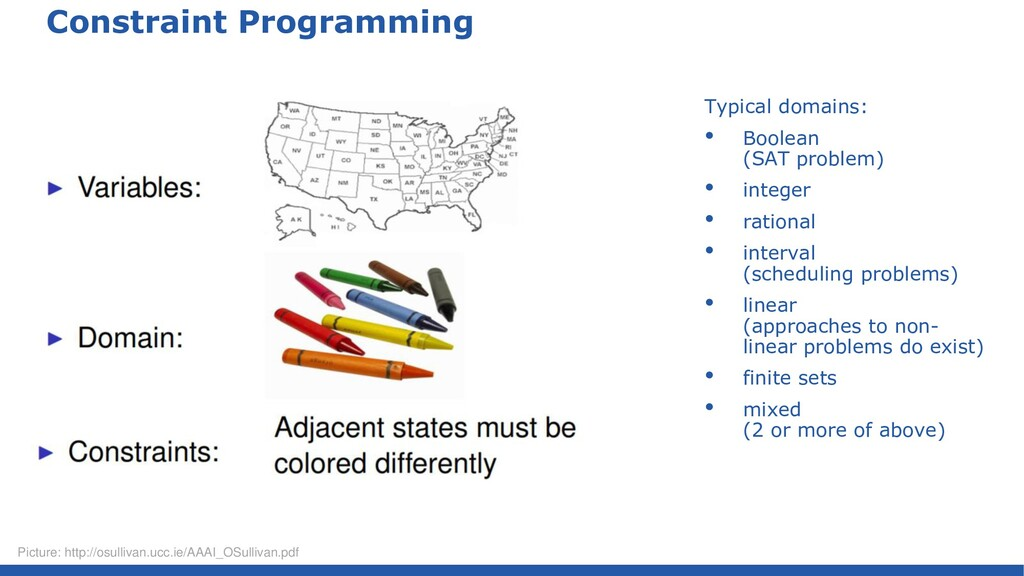 Constraint Programming Typical domains: • Boole...