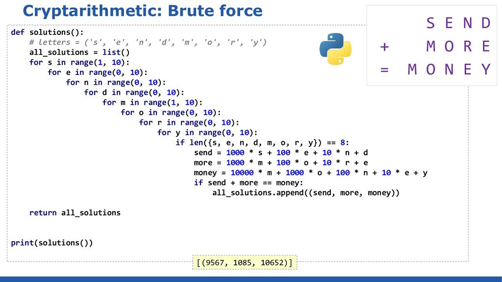 Cryptarithmetic: Brute force def solutions(): #...