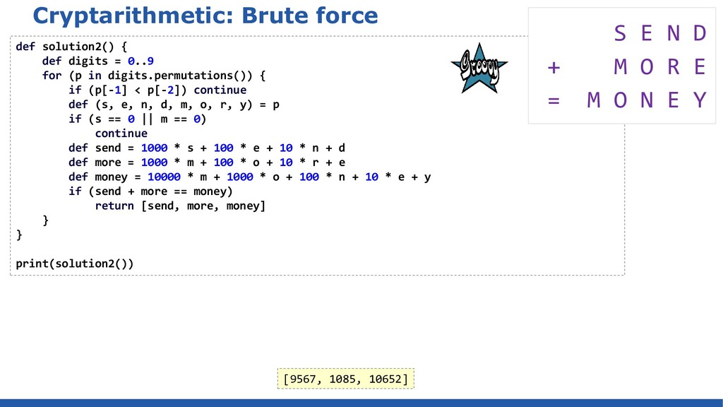 Cryptarithmetic: Brute force def solution2() { ...