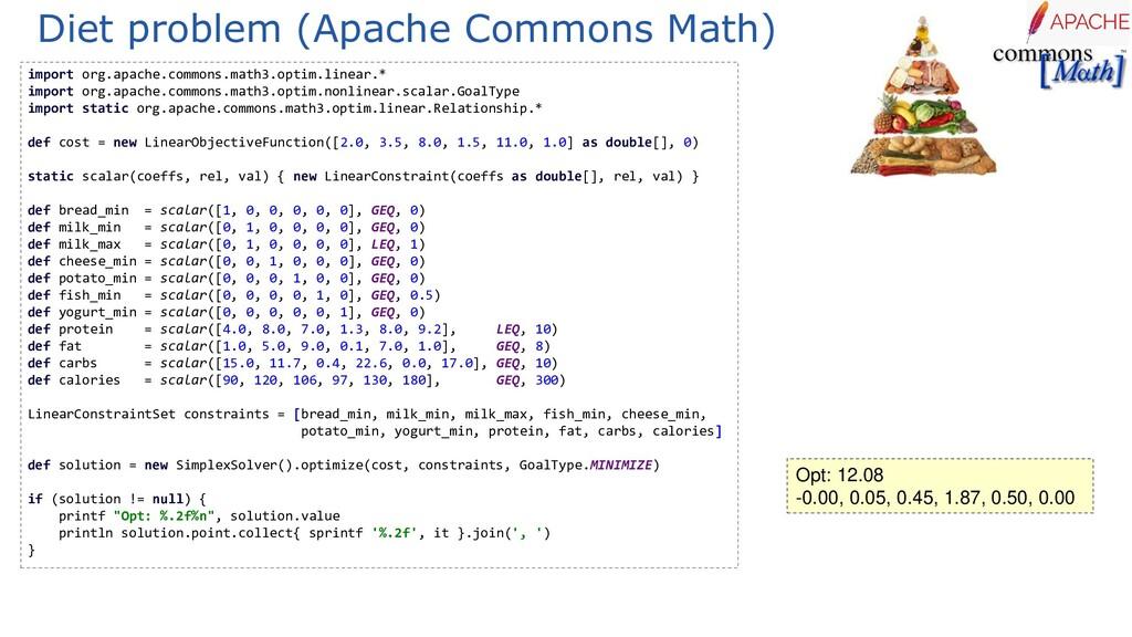 Diet problem (Apache Commons Math) import org.a...