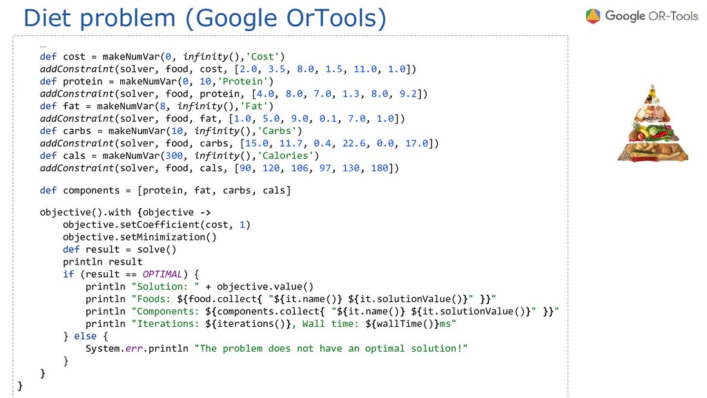 Diet problem (Google OrTools) … def cost = make...