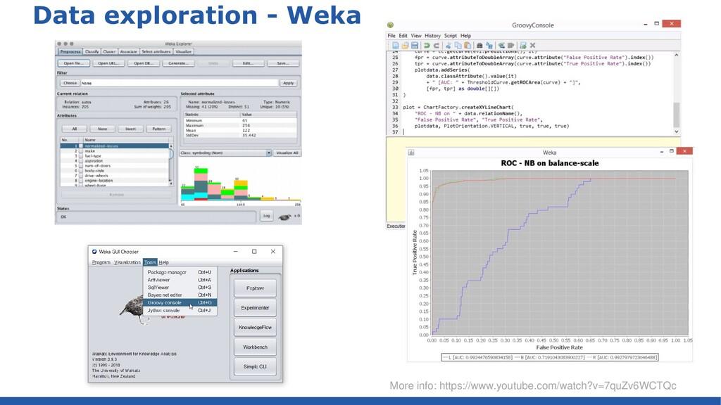 Data exploration - Weka More info: https://www....
