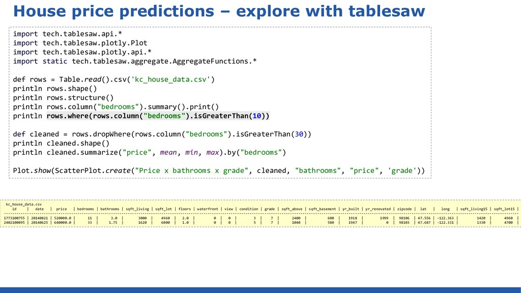 House price predictions – explore with tablesaw...