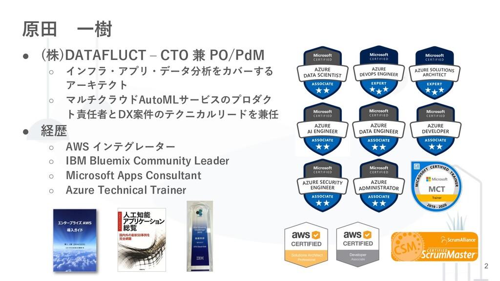 2 原⽥ ⼀樹 ● (株)DATAFLUCT ‒ CTO 兼 PO/PdM ○ インフラ・アプ...