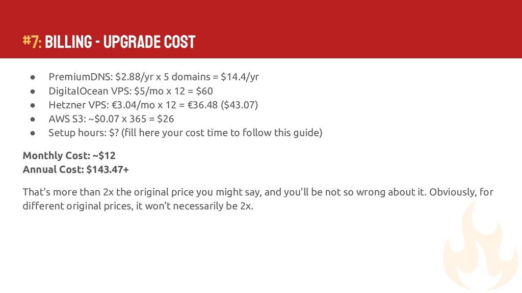 #7: Billing - Upgrade Cost ● PremiumDNS: $2.88/...